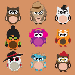 set of comic owls