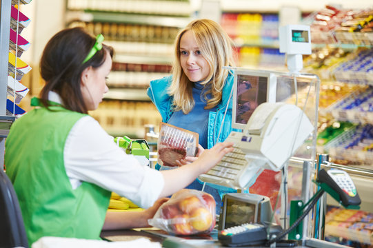 Shopping. Check out in supermarket store