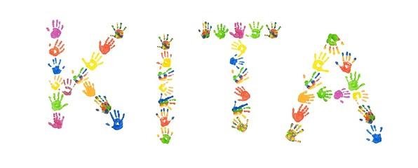 "Wort ""KITA"" aus bunten Kinderhänden (Foto-Collage)"