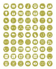 Set de iconos para web en colores dorados