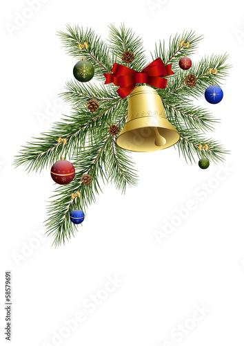 Weihnachtsdeko mit tannenzweig und glocke stockfotos und for Weihnachtsdeko bilder gratis
