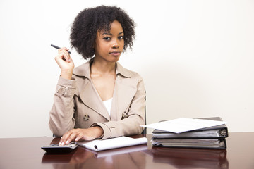 young african american woman at desk