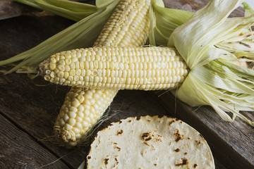 Ears of corn and corn tortillas