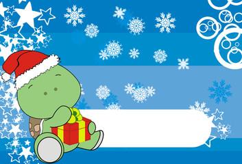 turtle xmas baby claus gift bg