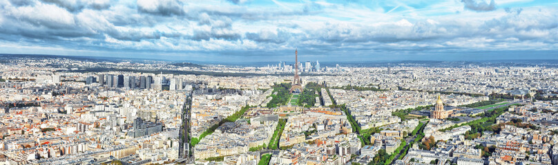 Wall Mural - Panorama of Paris from the Montparnasse Tower. France(District