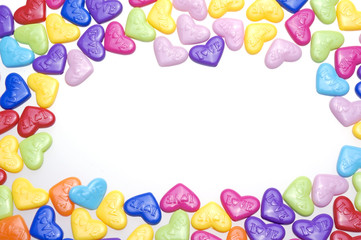 Love candy in heart shape with love text