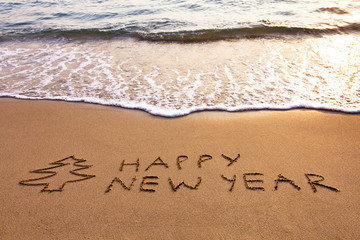 New Year background on the beach