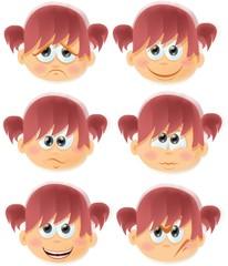 Набор мультфильм смешные девушки с эмоциями