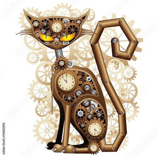 Wall mural Steampunk Cat Vintage Style-Gatto Meccanico Surreale