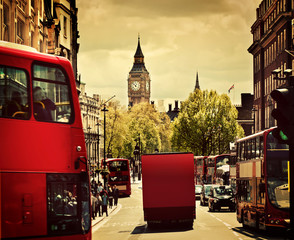 Wall Mural - Busy street of London, England, the UK. Red buses, Big Ben