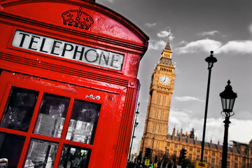 Wall Mural - Red telephone booth and Big Ben in London, England, the UK