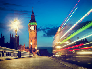 Wall Mural - London, the UK. Red bus in motion and Big Ben at night