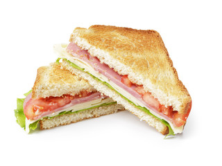 Spoed Fotobehang Snack toasted sandwich with ham, cheese and vegetables
