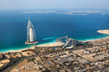 Spoed Fotobehang Dubai Dubai, UAE. Burj Al Arab from above