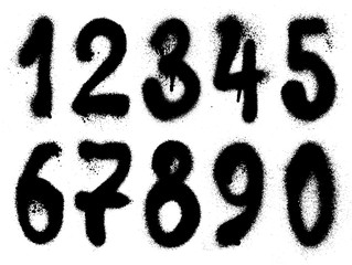 Vector graffiti hand drawn graffiti grunge numbers