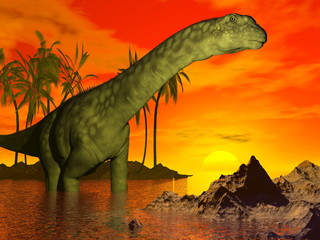 Argentinosaurus dinosaur by sunset - 3D render