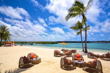 Wall Mural - Tropical relax on tropical sandy beach in Mauritius Island