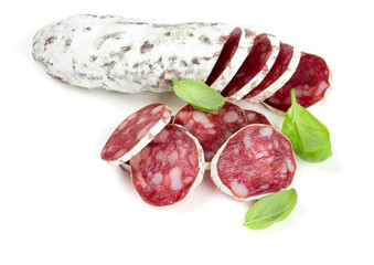 sliced salami isolated on white backrgound