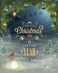 Wall Mural - Christmas Poster. Vector illustration.
