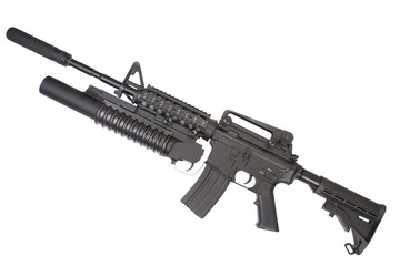 M4A1 carbine with silencer equipped M203 grenade launcher