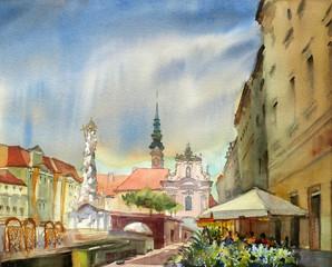 Austrian city Sankt Polten  painted by watercolor.