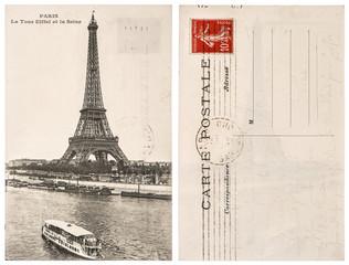 Original vintage postcard with Eiffel Tower in Paris