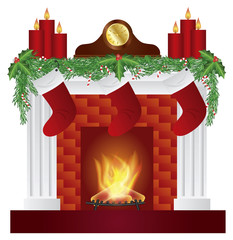 Fireplace with Christmas Decoration Vector Illustration
