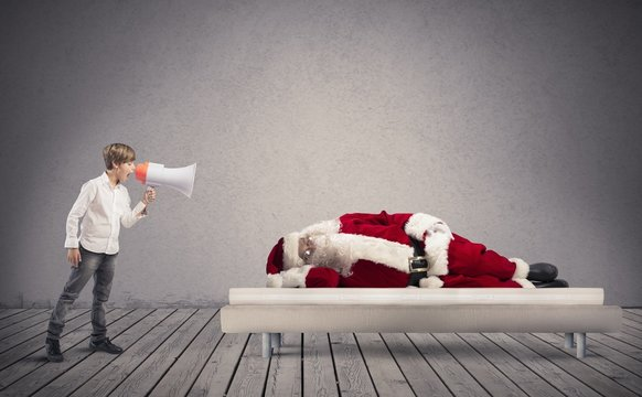 Wake up asleep Santa Claus