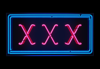 XXX neon sign illuminated over dark background