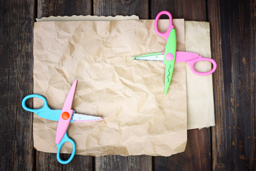 colorful scissors and paper