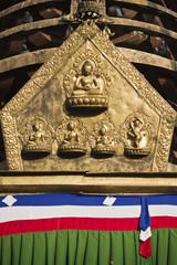 Pancha buddha sculpture in to of buddhist stuppa