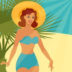 Card with beautiful pin up girl 1950s style on the beach.
