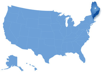 Map of States of the United States where Maine is pulled out