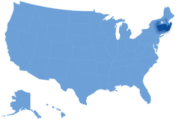 Map of United States where Massachusetts is pulled out