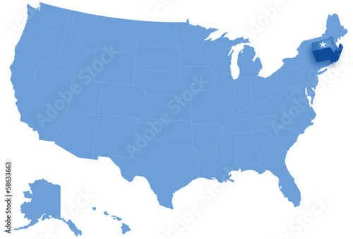 Map Of United States Where Massachusetts Is Pulled Out Stock Image - Massachusetts-on-the-us-map