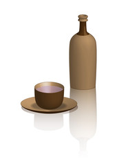 tasse en bois sur fond blanc
