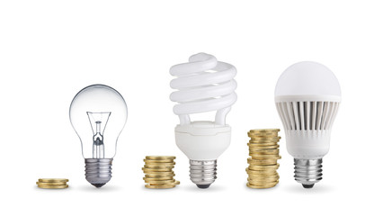 Money saved in different kinds of light bulbs. Isolated on white