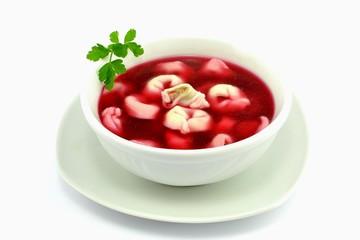 Obraz red borscht with dumplings - fototapety do salonu