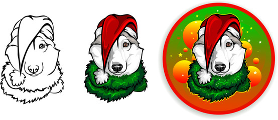 vector drawing of the dog - Santa Claus