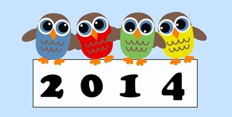 2014 new year calendar owls