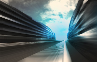 fast motion racetrack in business city wallpaper