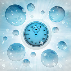 stopwatch in bubble at winter snowfall