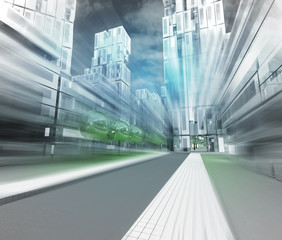 new modern visualization of city of future in motion blur