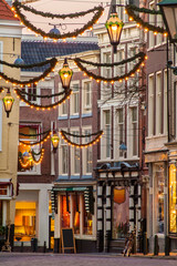 Dutch shopping street with Christmas decoration in The Hague