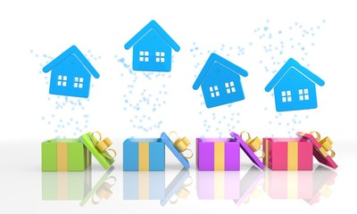cute present boxes with house icon