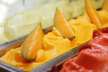 sweet cold tasty appetizing melon ice cream