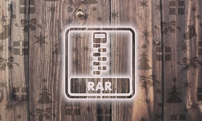 wooden rar file label with presents