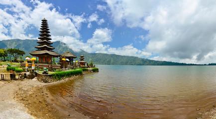 Panorama of Pura Ulun Danu temple on a lake Beratan. Bali