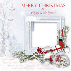 Christmas snow background with photo-frame&decorations