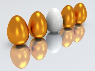 White egg in a row of golden eggs. 3D.